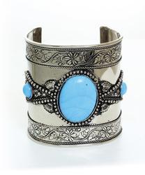 Charming Ethnic Handmade Silver Tone Cuff Bracelet