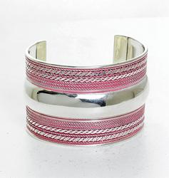 Beautiful Silver Tone and Red Color Cuff Bracelet