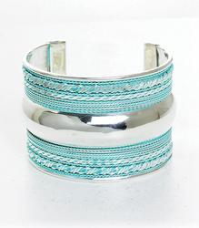 Beautiful Silver Tone and Blue Color Cuff Bracelet