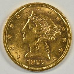 Very pretty BU 1907 US $5 Liberty Gold Piece