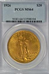 Basically Gem BU 1926 St. Gaudens $20 Gold. PCGS MS64