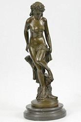 Maiden Bronze figurine on Marble base Sculpture