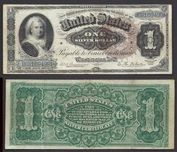 1886 Martha Washington SIlver $ Cert, Very Desirable