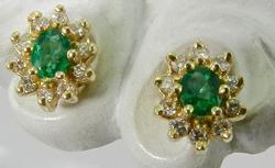 Fancy 14kt Gold Emerald & Diamond Earrings