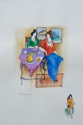 Original Itzchak Tarkay Watercolor on Paper