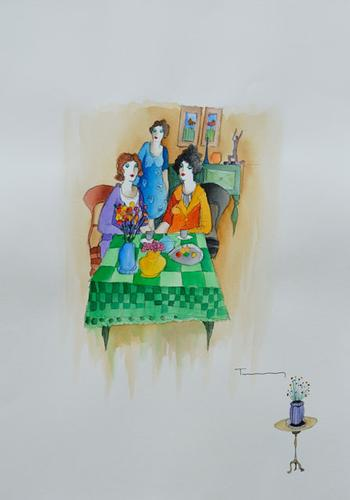 Original Itzchak Tarkay Watercolor on Paper