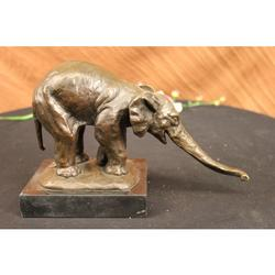 Elephant Bronze Statue on Marble Base Figurine