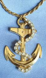'Anchor's Aweigh', Clear Crystal Rope & Gold Tone 'Anchor' Pendant Necklace