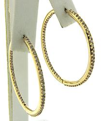 1.68 CTW Diamond In/Out Hoop Earrings in Yellow Gold