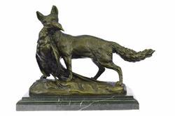 Poacher fox and Pheasant Bronze Sculpture