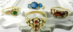 Group of 4 Colored Stone Rings