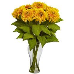 Decorative Tabletop Sunflower Arrangement with Vase Yellow