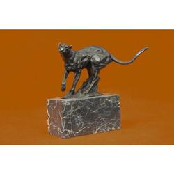 Panther Bronze sculpture on Marble Base Figurine