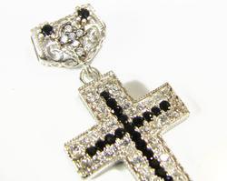 Charming Classical Religious Rhodium Pl. 925 S. Cross