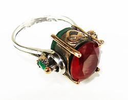 Very Charming Antique Design Multi Gemstone 925 SS Ring