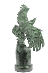 American Eagle Green Patina With Spread Wings Bronze Statue