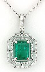 2.03 CWT Emerald & VS Diamond Halo Pendant Necklace18K