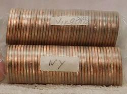 2 rolls State Quarters, New York-P and Virginia-D