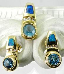 Blue Topaz and Opal Pendant & Earrings