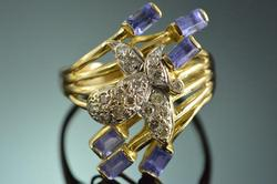 Tanzanite Diamond Bee Motif Statement Ring