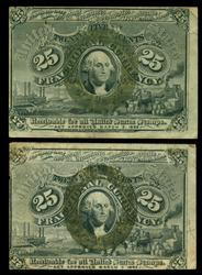 2 Diff. 1863 2nd Issue 25c Fractionals (FR-1283 & 1290)