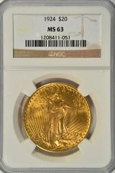 Very Choice BU 1924 St. Gaudens $20 Gold Piece NGC MS63