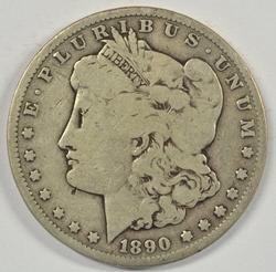 Scarcer 1890-CC Morgan Silver Dollar. Key date