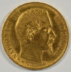 Brilliant 1857-A France Napoleon III 20 Francs Gold