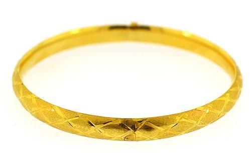 14kt Gold Diamond Cut Bangle Bracelet