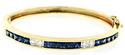 Diamond & Sapphire Bangle Bracelet at 3.95 CTW