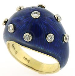Boris LeBeau Enamel & Diamond Dome Ring in 18K