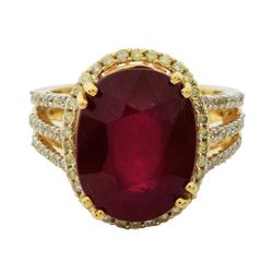 A Stylish 11.03ctw. Ruby and Diamond Ring