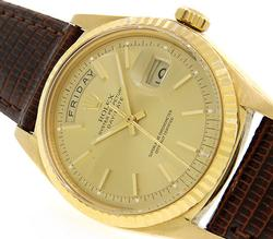 Rolex Vintage Day-Date 1803, 18K Gold on Leather Strap
