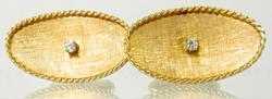 Nice 14K Oval Cufflinks with Diamonds