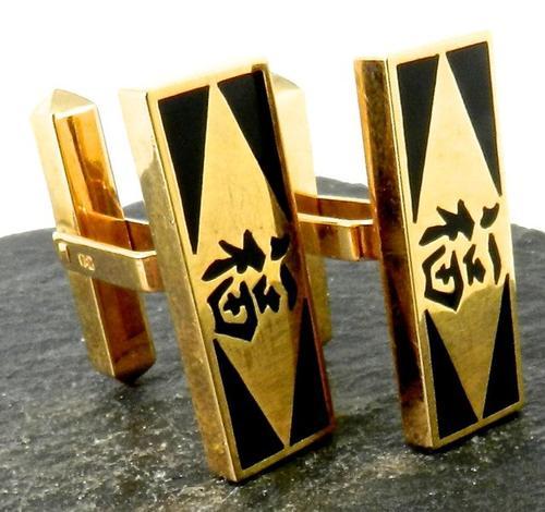 Gents 18kt Gold Oriental Cufflinks