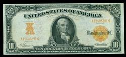 Scarce AU 1907 Series $10 Large Size Gold Certificate
