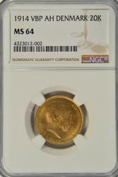 Near Gem BU 1914 Denmark 20 Kroner Gold. NGC MS64