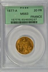 Super Choice BU 1877-A France 20 Francs Gold. PCGS MS63