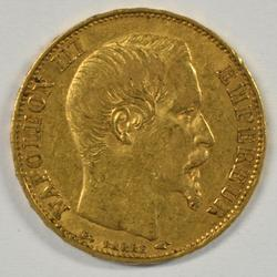 Scarce 1855-A France Napoleon III 20 Francs Gold