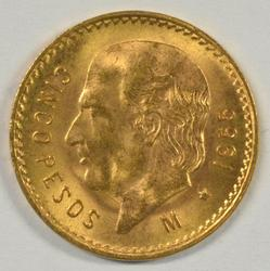 Superb Gem BU 1955 Mexico 5 Pesos Gold Piece.