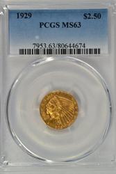 Very Choice BU 1929 $2.50 Indian Gold Piece. PCGS MS63