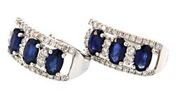 Huggie Earrings with Diamonds and Sapphires in 18K