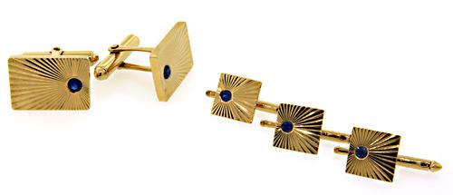Gents Tiffany & Co Cufflink & Stud Set with Sapphires