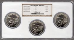 1983-P, D, and S Olympic Silver Dollars in NGC MS69