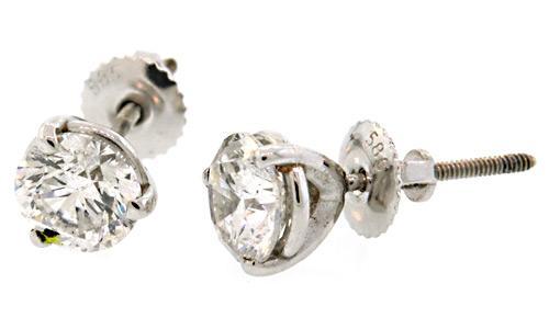 Large 2+ CTW Diamond Stud Earrings, Certified