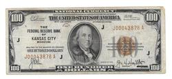 $100 National Currency Kansas City 1929 Series