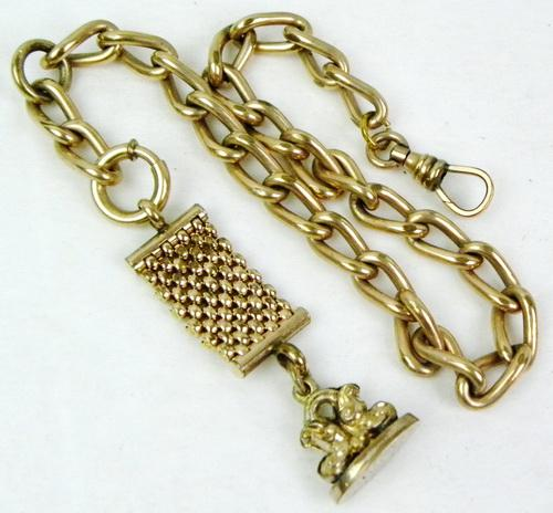 Superb Antique Gold-Filled Watch Chain & FOB