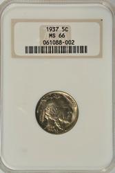 Awesome Gem BU 1937 Buffalo Nickel. NGC MS66