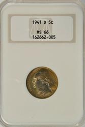 Gem BU 1941-D Jefferson Nickel. NGC MS66