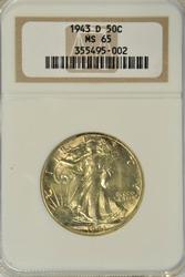 Gem BU 1943-D Walking Liberty Half Dollar. NGC MS65